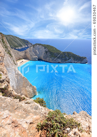 Navagio Beach on Zakynthos Island in Greece 69830467