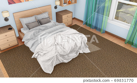 Double bed in modern bedroom interior top view 69831770