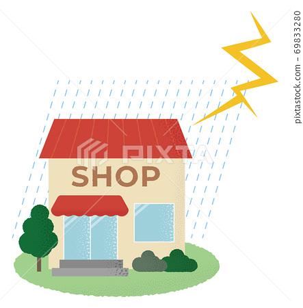 遭受雷暴的商店的矢量圖 69833280