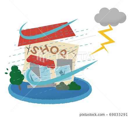 遭受雷暴的商店的矢量圖 69833291