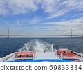 Akashi Kaikyo Bridge and blue sky seen from the ship 69833334