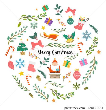 귀여운 크리스마스 소재 박힌 일러스트 69833681