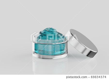 blue cosmetic gel in pot 69834374