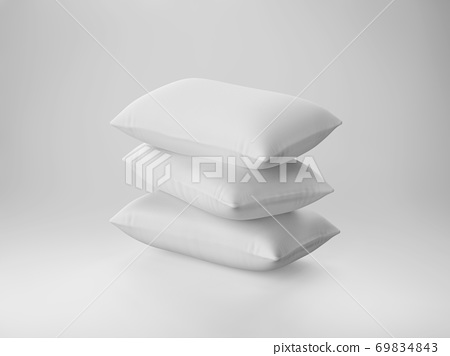pile of soft white pillows 69834843
