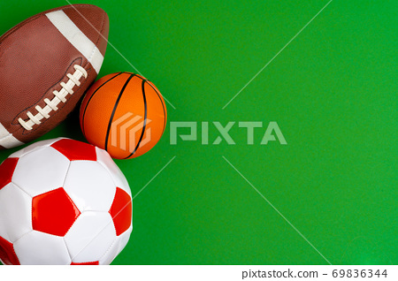 Set of balls for soccer, basketball and rugby 69836344
