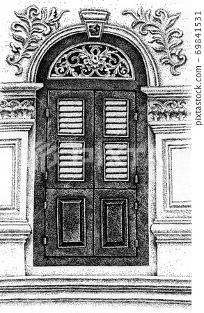 Decorative antique door 69841531
