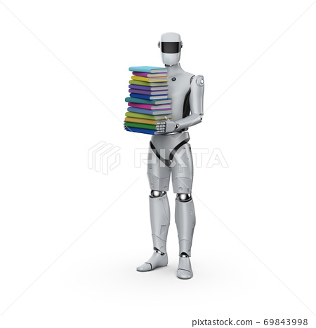 cyborg with stack of books 69843998