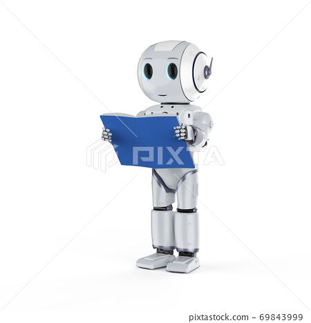 mini robot reading a book 69843999