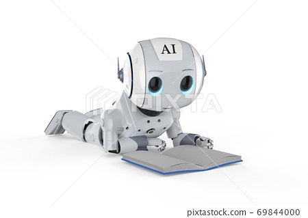 mini robot reading a book 69844000