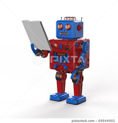 mini robot reading a book 69844002
