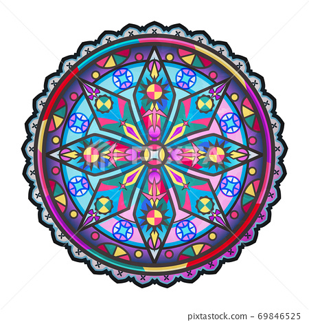 Stained glass pattern abstract beautiful colorful vector 69846525