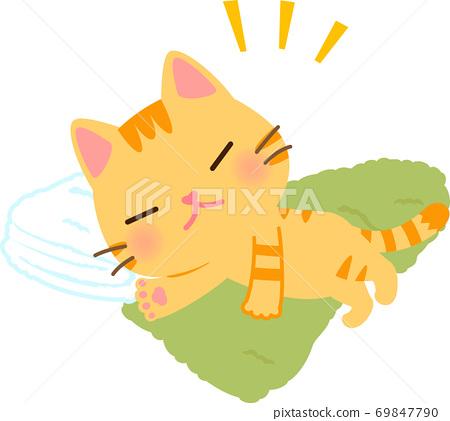 수건에서 잠 호랑이 고양이 69847790