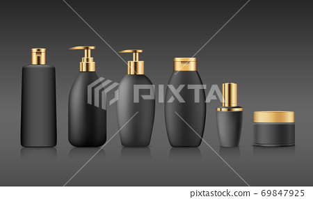 Bottle black products with gold cap, collection mock up template design on black background 69847925