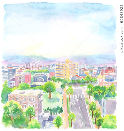Illustration of the cityscape drawn in watercolor 69848922