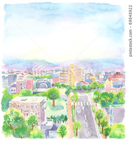 用水彩畫的城市景觀的插圖 69848922