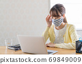 A young woman doing telework [Physical condition] 69849009