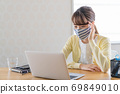 A young woman doing telework [Physical condition] 69849010