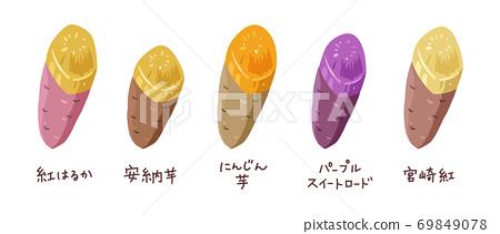 各種類型的烤土豆的插圖 69849078