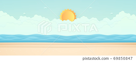 Summer Time, seascape, landscape, blue sea with beach, cloud and bright sun, paper art style 69850847