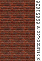 Vertical brown red brick wallpaper. Seamless pattern material 69851826
