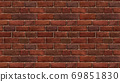 Horizontal size brown red brick wallpaper. Seamless pattern material 69851830