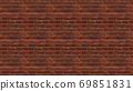 Horizontal size brown red brick wallpaper. Seamless pattern material 69851831