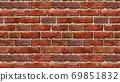 Horizontal size brown red brick wallpaper. Seamless pattern material 69851832