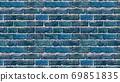 Horizontal size blue brick wallpaper. Seamless pattern material 69851835