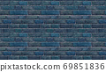 Horizontal size blue brick wallpaper. Seamless pattern material 69851836
