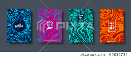 Colorful abstract geometric background. Liquid dynamic gradient waves. Fluid marble texture. Modern 69856753