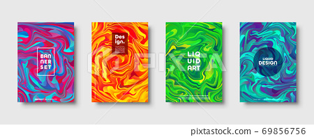 Colorful abstract geometric background. Liquid dynamic gradient waves. Fluid marble texture. Modern 69856756