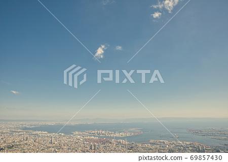 Cityscape of Kobe city overlooking Mt. Rokko and Mt. Maya, Hyogo Prefecture 69857430