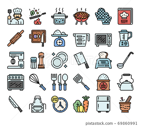 cooking color outline vector icons 69860991