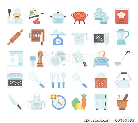 cooking flat vector icons 69860993