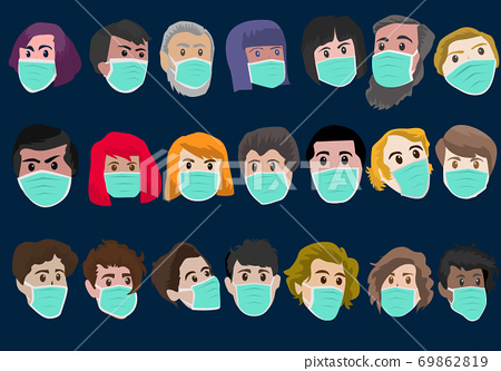 Multiracial groups wear masks to prevent the global coronavirus outbreak affecting human life. 69862819