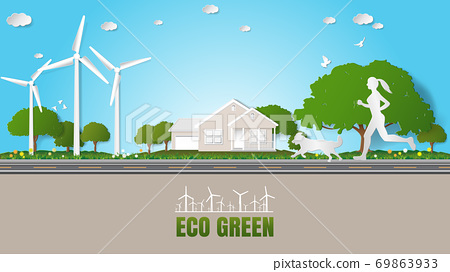 Green energy ecology technology power saving environment friendly concepts Woman and dog jogging on road through her house near green village parks 69863933
