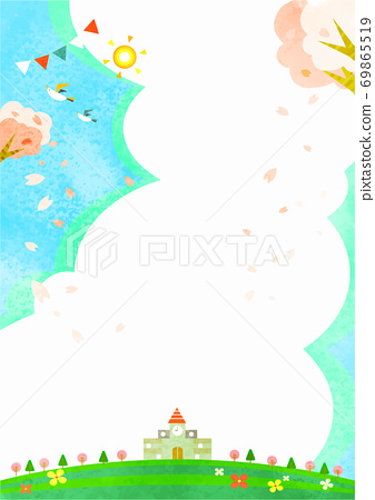 櫻花季節的明亮的學校背景框架 69865519