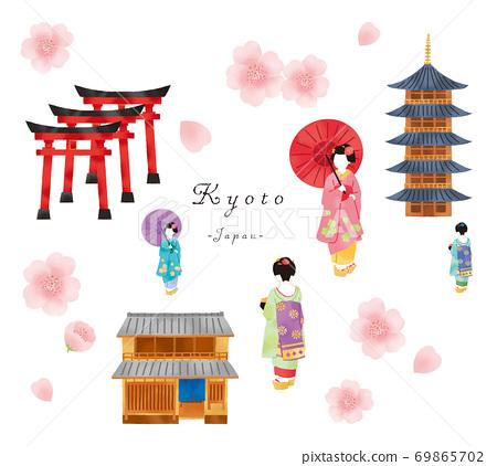 設置舞妓,京都聯排別墅和寺廟的插圖 69865702