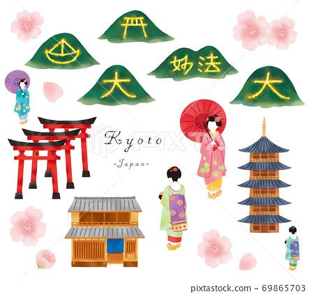 設置舞妓,京都聯排別墅和寺廟的插圖 69865703