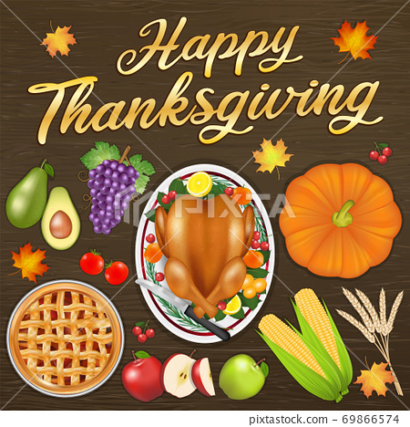 happy thanksgiving celebration festival banner with food and fruit 69866574