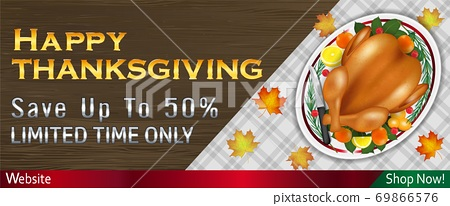happy thanksgiving sale banner with grilled turkey on table 69866576