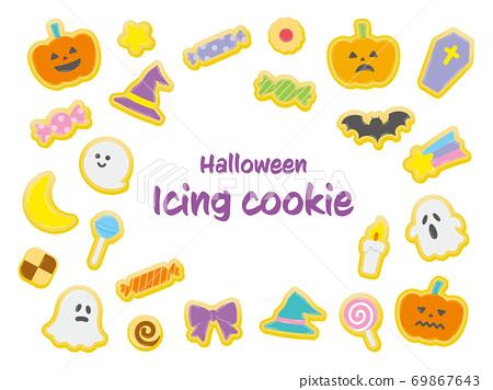Halloween cute icing cookie illustration 69867643