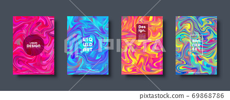 Colorful abstract geometric background. Liquid dynamic gradient waves. Fluid marble texture. Modern 69868786