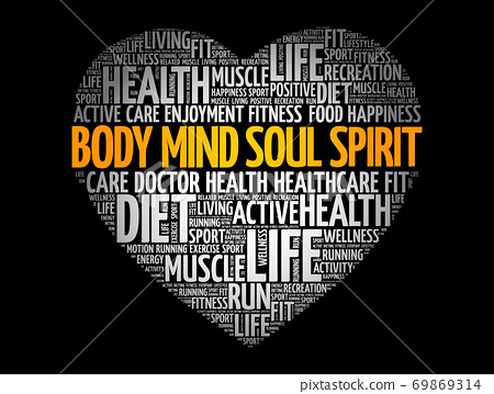 Body Mind Soul Spirit heart word cloud, fitness 69869314