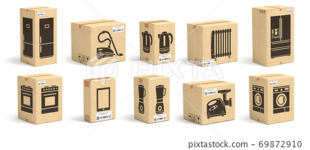 Set of cardboard box with appliances and household kitchen electornics isolated on white background. 69872910