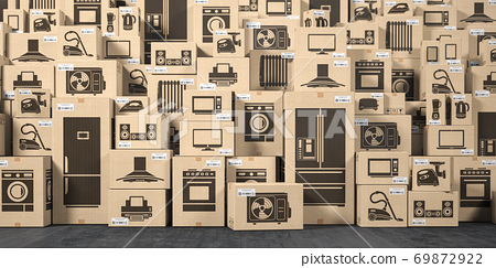 Household appliances and kitchen electronics in cardboard boxes in warehouse. Online purchase, shopping  and delivery concept. 69872922