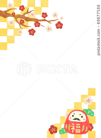 New Year's card illustration with cute Dharma and checkered pattern 69877588