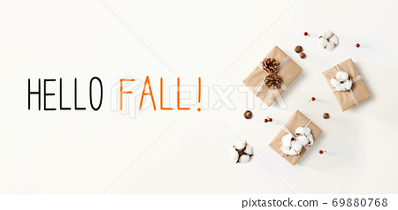 Hello fall message with gift boxes with cottons 69880768