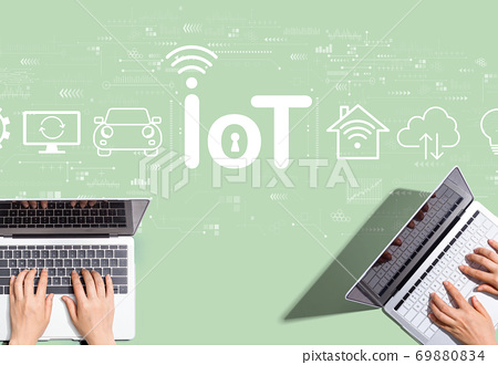 IoT theme with people working together 69880834
