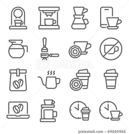 Coffee icon illustration vector set. Contains such icon as Coffee Break, Cafe, Coffee beans, coffee machine, Drip, hot and more. Expanded Stroke 69880966